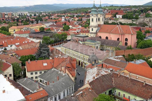 Igreja velho edifícios casas cityscape Hungria Foto stock © goce
