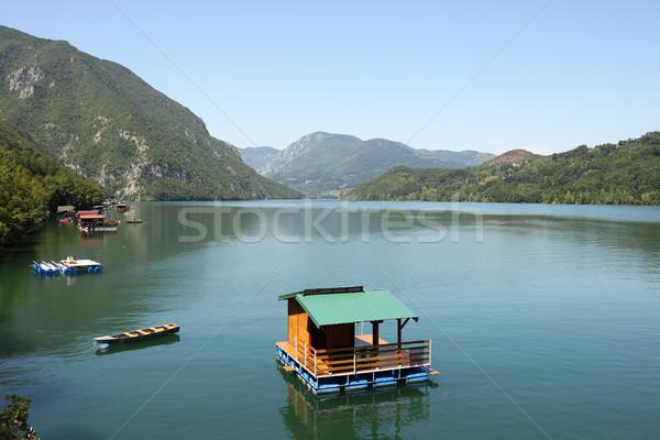 wooden house floating on Drina river landscape Stock photo © goce