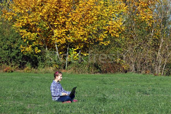 Heureux petite fille jouer portable parc saison d'automne Photo stock © goce