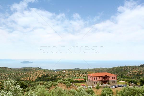 Oude huis Griekenland landschap gebouw natuur zee Stockfoto © goce