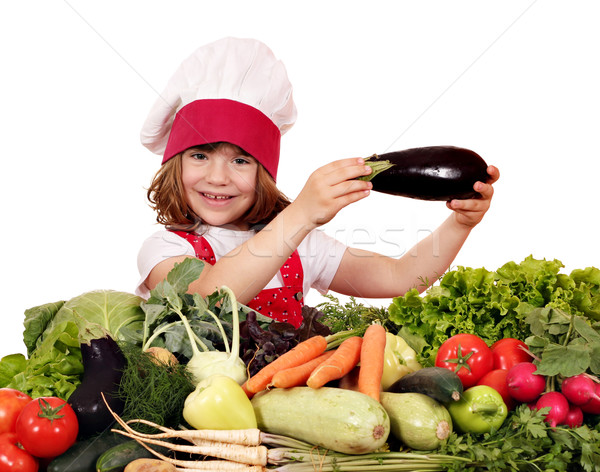 little girl cook holding eggplant  Stock photo © goce