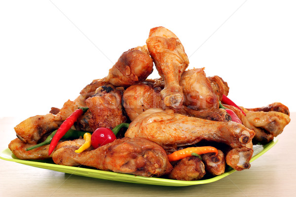 roasted chicken drumsticks on plate Stock photo © goce