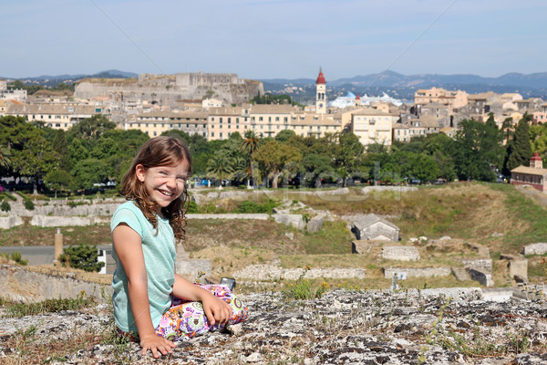 beautiful little girl on vacation Corfu town Greece Stock photo © goce