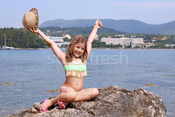 Boldog kislány nyári vakáció Görögország lány gyermek Stock fotó © goce