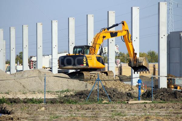 掘削機 作業 新しい 工場 建設現場 ビジネス ストックフォト © goce