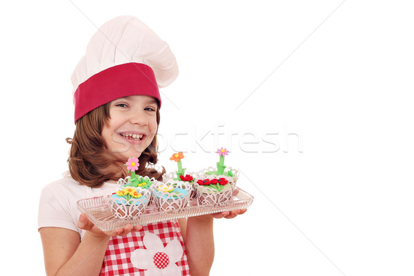 happy little girl cook with sweet muffins Stock photo © goce