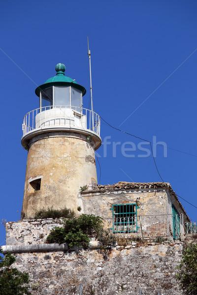 Oude vuurtoren eiland Griekenland gebouw Blauw Stockfoto © goce