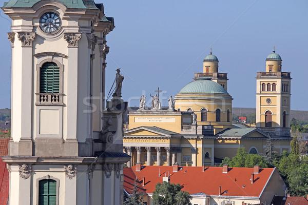 Katedral bazilika Macaristan gökyüzü Bina çapraz Stok fotoğraf © goce