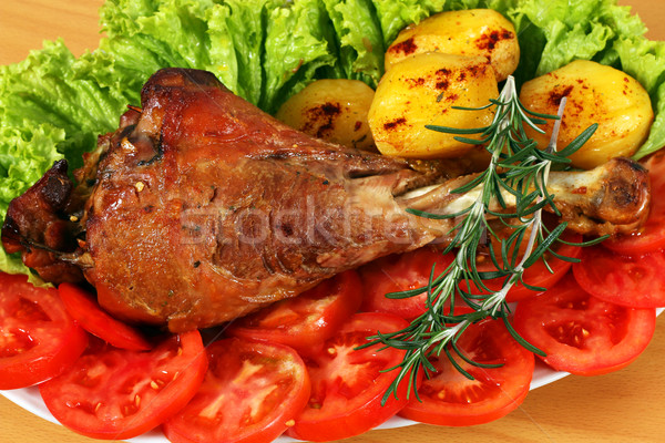 roasted turkey drumstick with vegetables closeup Stock photo © goce