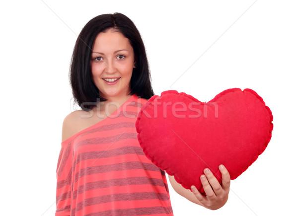 Heureux adolescente coeur fille amour beauté Photo stock © goce