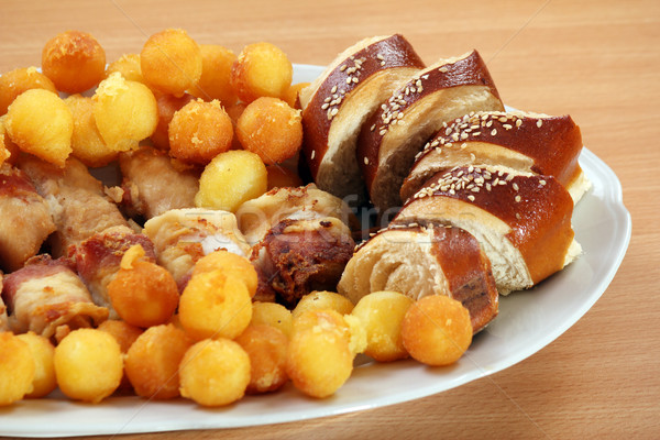bread meat and potatoes on plate gourmet food Stock photo © goce