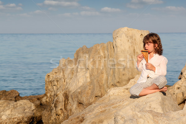 little girl playing pan pipe by the sea Stock photo © goce