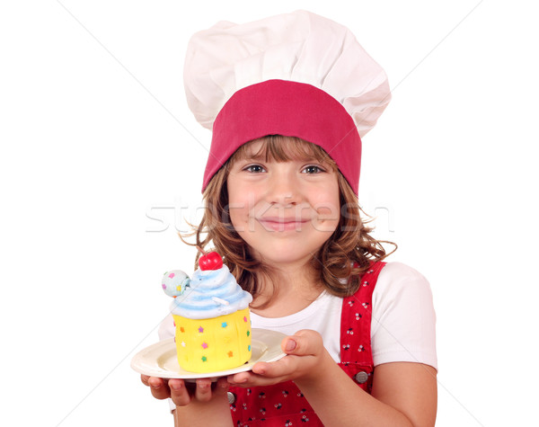little girl cook with sweet cake Stock photo © goce