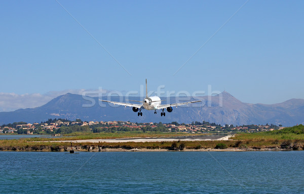 airplane landing on airport Corfu town GreeceUntitled Stock photo © goce