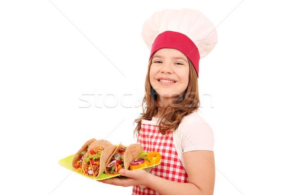 Feliz little girl cozinhar tacos fast-food menina Foto stock © goce