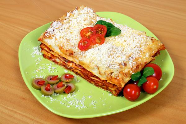 ízletes olasz lasagne tányér étel sajt Stock fotó © goce