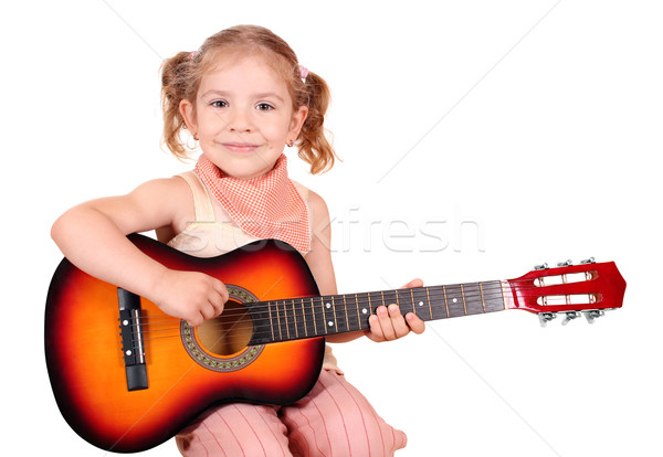 little girl with guitar Stock photo © goce