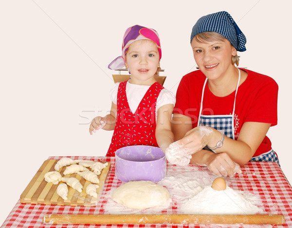 mother and daughter with flour and rolls Stock photo © goce