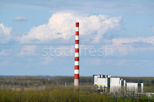 Ogrzewania roślin wysoki komin krajobraz niebo Zdjęcia stock © goce