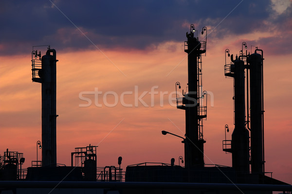 twilight over petrochemical plant silhouette Stock photo © goce