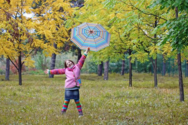 happy little girl in park autumn season Stock photo © goce