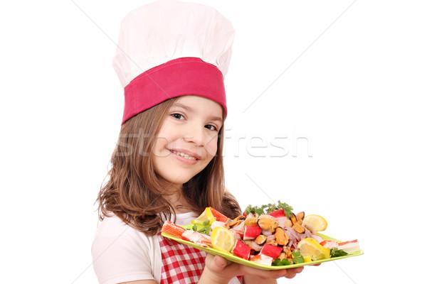 счастливым девочку Кука морепродуктов продовольствие улыбка Сток-фото © goce