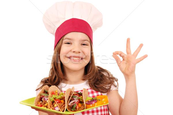 счастливым девочку Кука Тако быстрого питания вызывать Сток-фото © goce
