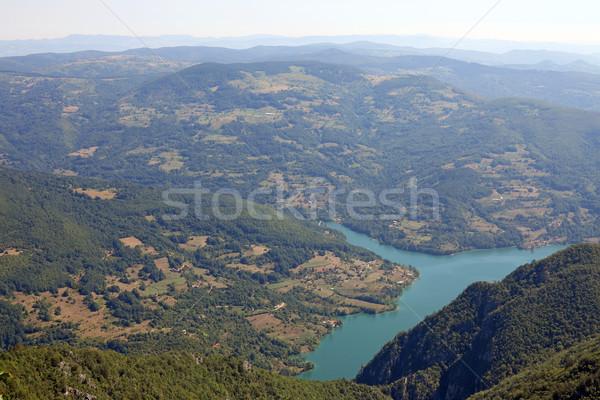 Paisaje montana Serbia agua árbol azul Foto stock © goce