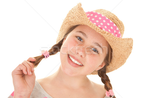 perfect straight white teeth Stock photo © godfer