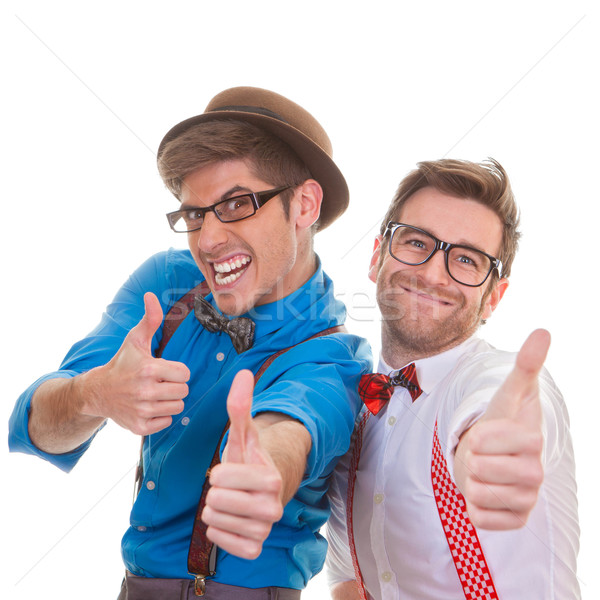 Humor zakenmannen succes geslaagd bril Stockfoto © godfer