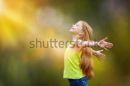 child, kid, joy, faith, praise and happiness Stock photo © godfer