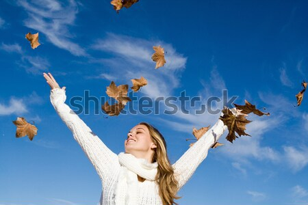 happy kid shouting or singing in autumn fall Stock photo © godfer