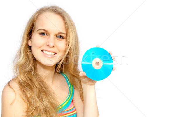 Jonge vrouw teen cd schijf vrouw Stockfoto © godfer