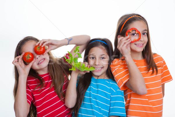 Bambini mangiare sano alimentare dieta ragazzi ragazze Foto d'archivio © godfer