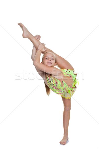 Kız dansçı jimnastikçi poz esnek vücut Stok fotoğraf © godfer