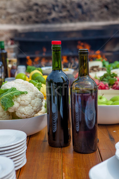 healthy mediterranean meal with wine Stock photo © godfer