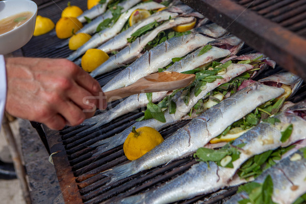 cooking fish for dinner on grill Stock photo © godfer