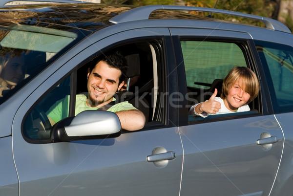 Apa gyerek autó út utazás család Stock fotó © godfer