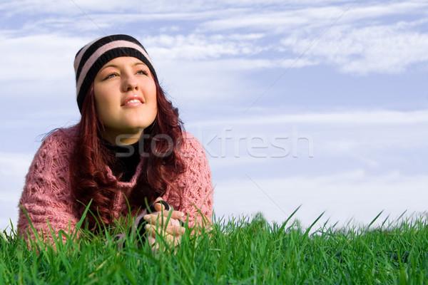 Boldog tavasz nő fű egészség Stock fotó © godfer
