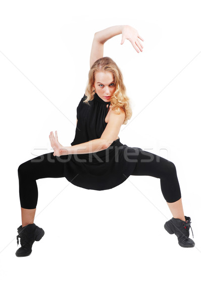 fit healthy woman dancer exercising, practicing, dance Stock photo © godfer
