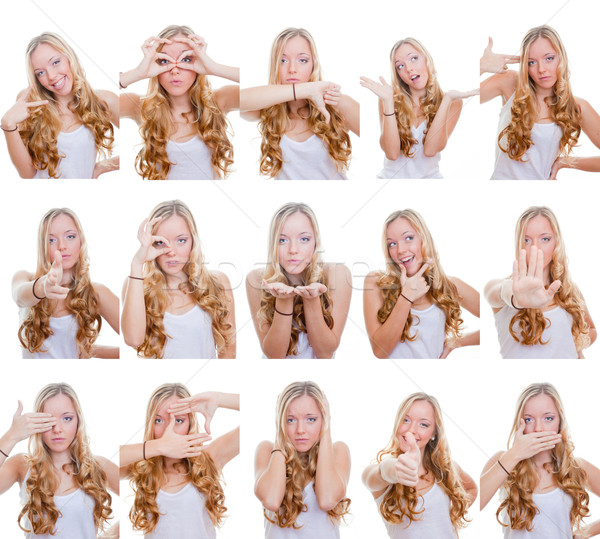 Multiple gestes signes femme différent expressions faciales Photo stock © godfer