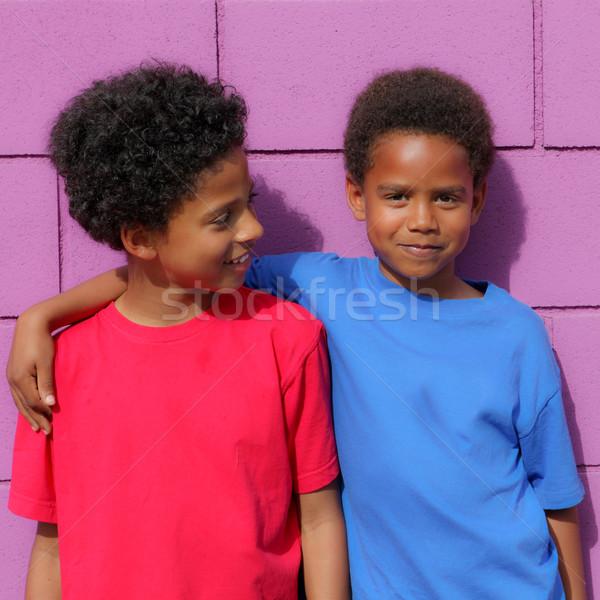Boldog gyerekek kicsi afrikai leszármazás fekete Stock fotó © godfer