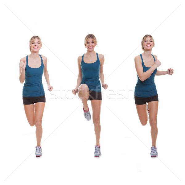 Uygun kadın egzersiz çalışma jogging zumba Stok fotoğraf © godfer