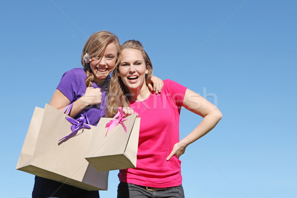 girl teenagers shopping with bag from recycled paper Stock photo © godfer