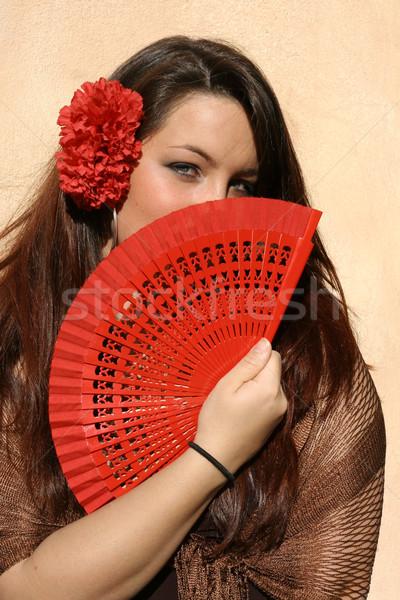 spain, spanish woman with fan Stock photo © godfer