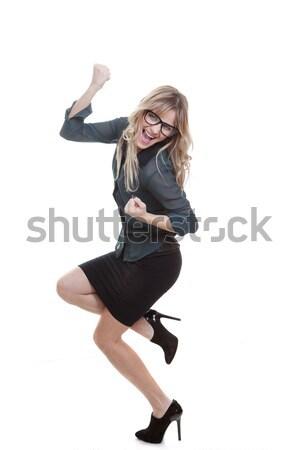деловой женщины успех торжествующий жест бизнеса Сток-фото © godfer