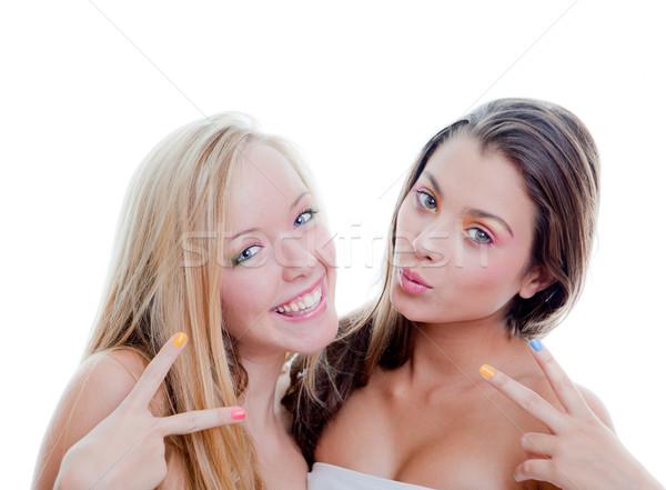 Signe adolescents jeunes mode filles modèles Photo stock © godfer