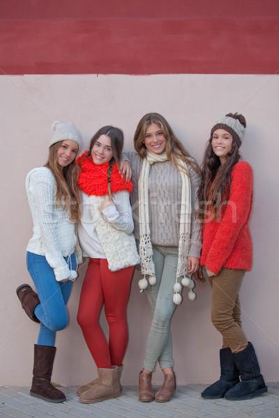 teen  autumn winter fashion Stock photo © godfer