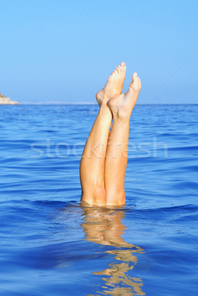 summer holiday vacation, woman diving in sea Stock photo © godfer
