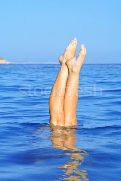 Nyár ünnep vakáció nő búvárkodik tenger Stock fotó © godfer